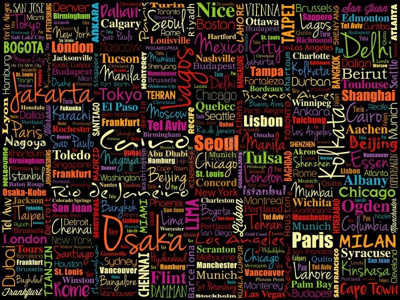 Die größten Städte im Weltwort bewölken Collage stock abbildung