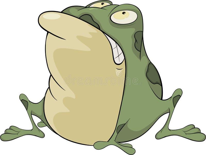 Die grüne Kröte. Karikatur lizenzfreie abbildung