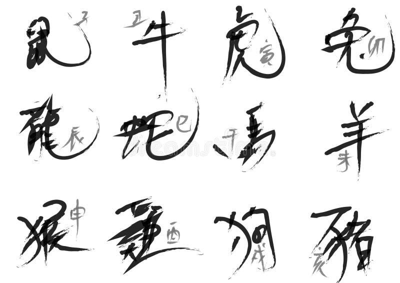 Die Grafik der Tintenkalligraphie, zum von chinesischen Sternzeichen zu schreiben Der chinesische Tiertierkreis ist ein 12-jährig lizenzfreie abbildung