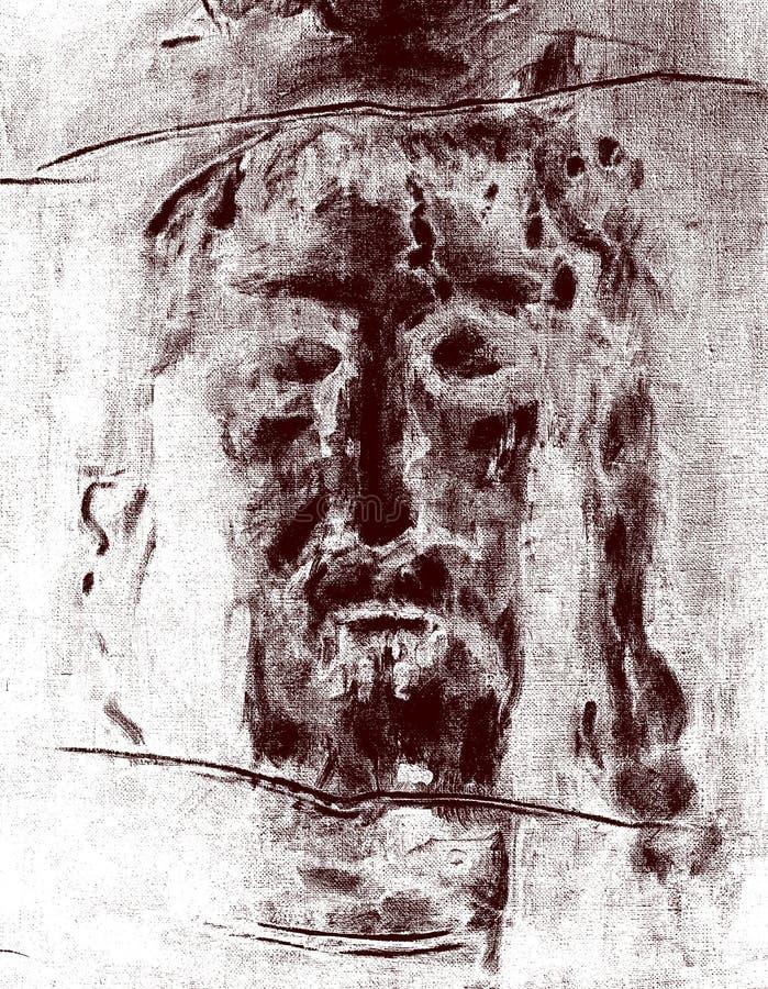 Die Grafik spornte durch Jesus Christ gegenüberstellen vom Leichentuch von Turin an lizenzfreie stockfotografie