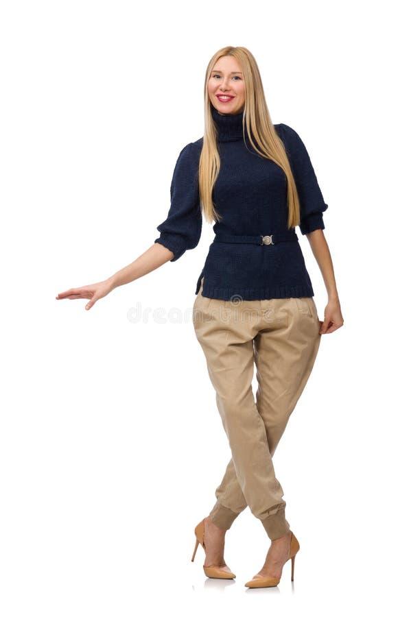 Die große Frau im blauen Pullover auf Weiß lizenzfreie stockfotografie
