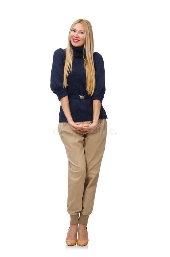 Die große Frau im blauen Pullover auf Weiß lizenzfreie stockbilder