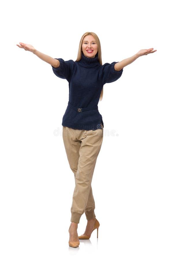 Die große Frau im blauen Pullover lokalisiert auf Weiß stockbild