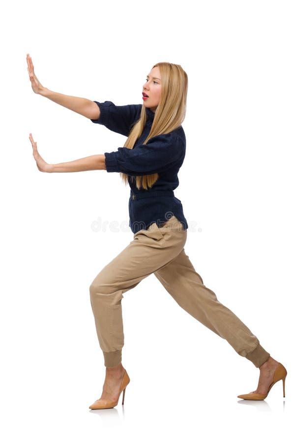 Die große Frau im blauen Pullover lokalisiert auf Weiß stockfotografie