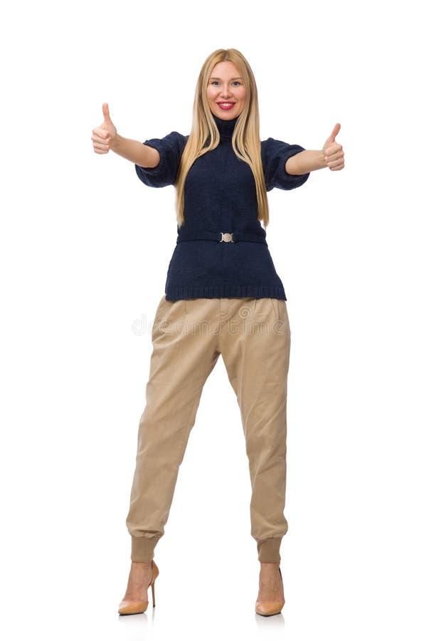 Die große Frau im blauen Pullover lokalisiert auf Weiß lizenzfreie stockfotografie