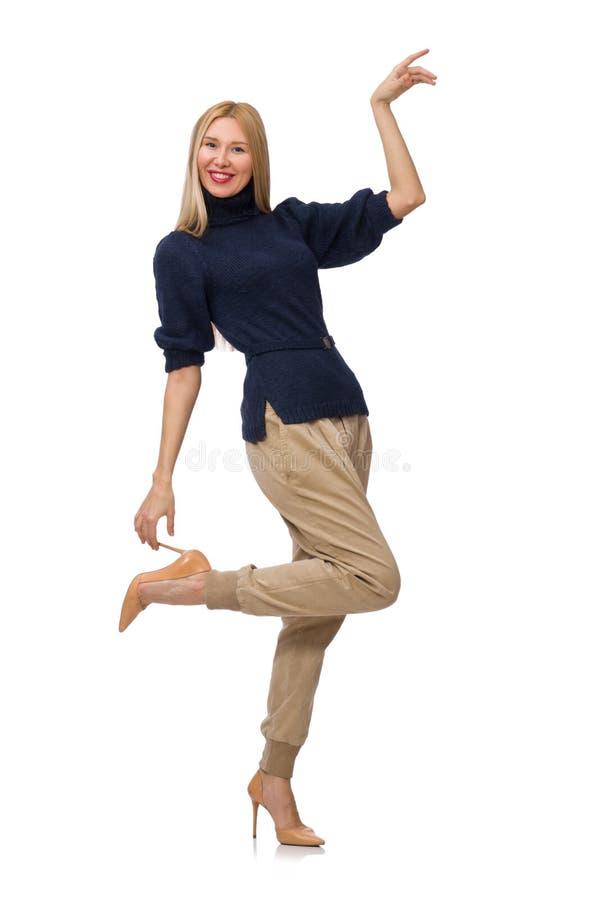 Die große Frau im blauen Pullover lokalisiert auf Weiß lizenzfreie stockfotos