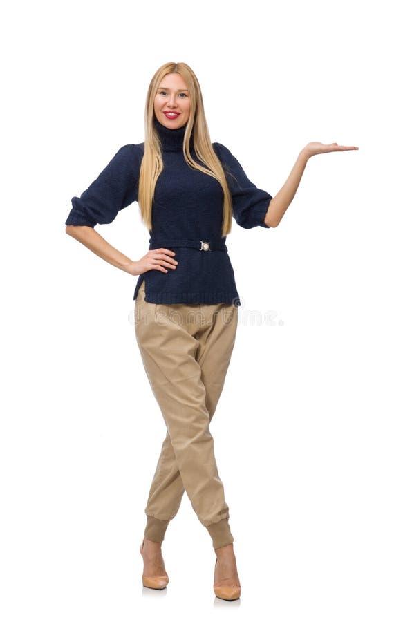 Die große Frau im blauen Pullover lokalisiert auf Weiß lizenzfreies stockbild