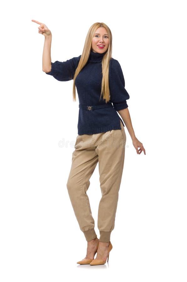 Die große Frau im blauen Pullover lokalisiert auf Weiß stockfotos