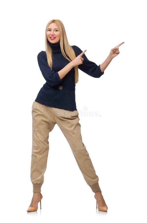 Die große Frau im blauen Pullover lokalisiert auf Weiß stockfoto