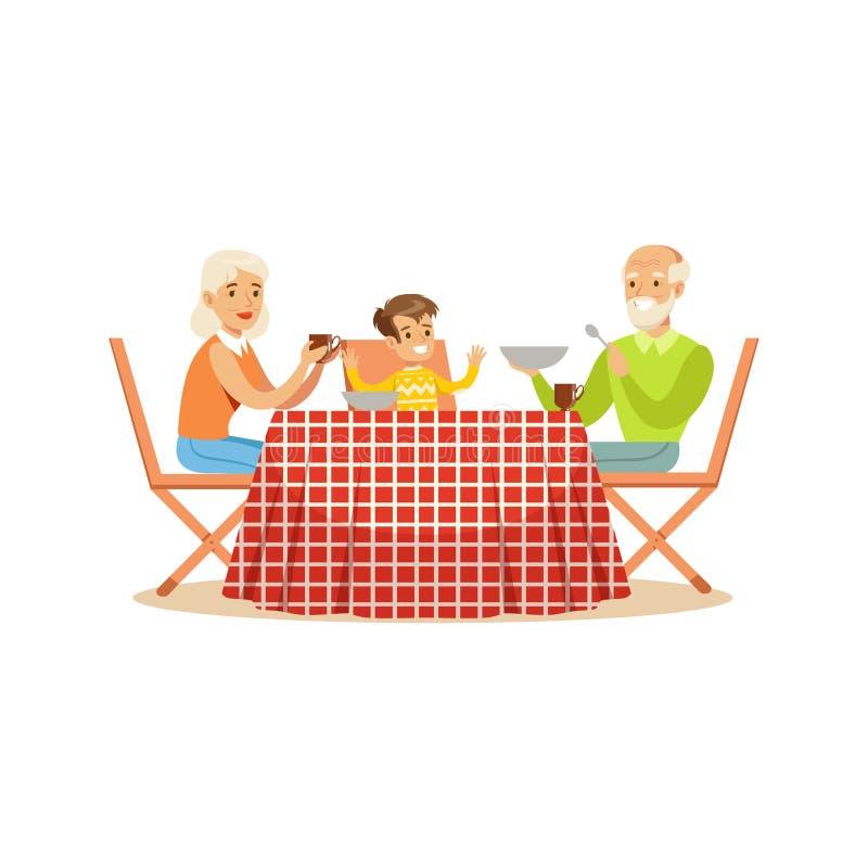 Die Großmutter, Großvater und Enkel, die draußen, glückliche Familiencharaktere an einem Picknick zu Mittag essen, vector Illustr stock abbildung