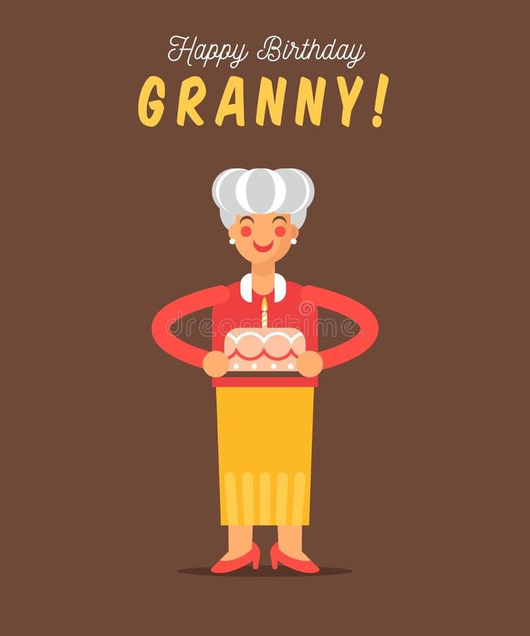 Die Grußkarte für alles Gute zum Geburtstag der Großmutter stock abbildung