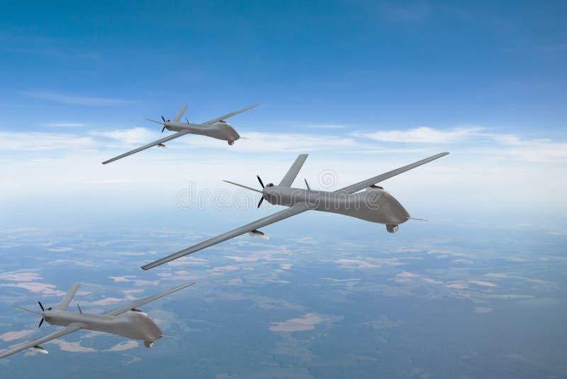 Die Gruppe von unbemannten Luftfahrzeugen im Himmel über dem Gebiet der Patrouille lizenzfreie stockbilder