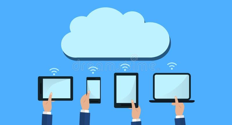 Die Hände, die Computer-Geräte halten, schließen an moderne Wolken-Dienstleistungen an Flache Illustration stock abbildung