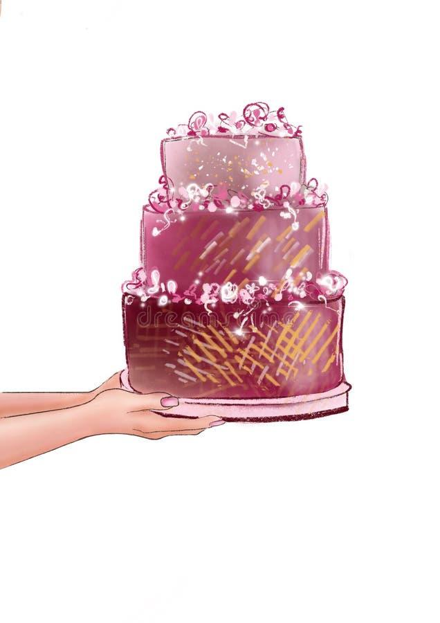Die Hände der Frau, die multi überlagerte Hochzeitstorte halten lizenzfreie abbildung