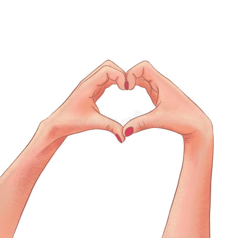 Die Hände der gezogenen Frau, die eine Herzform auf einem weißen Hintergrund machen stock abbildung