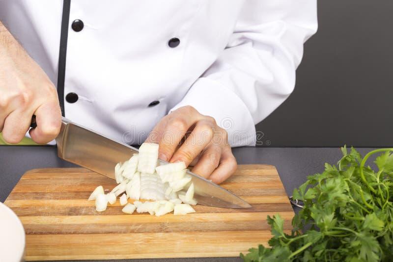 Die Hände des Chefs, die frische Zwiebel schneiden stockbild