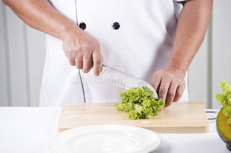 Die Hände des Chefs, die Kopfsalat schneiden lizenzfreies stockbild