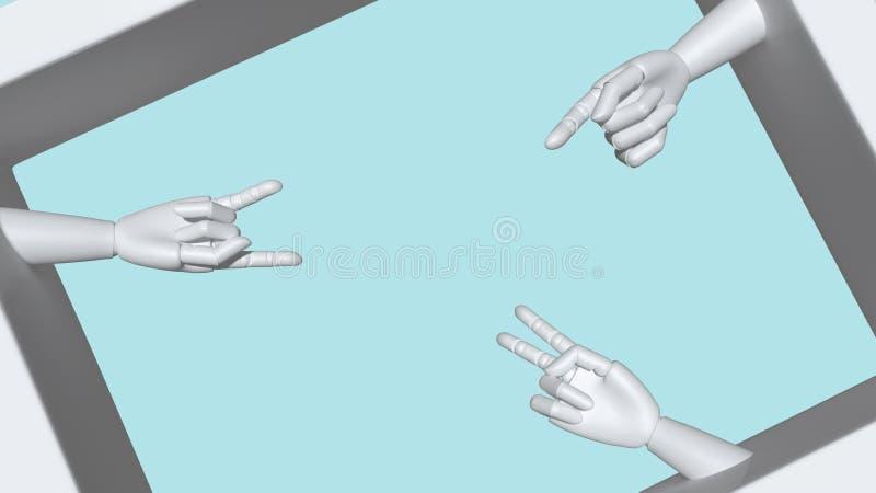 Die Hände des Mannequins machten vom Plastik, der verschiedene Gesten macht stock abbildung