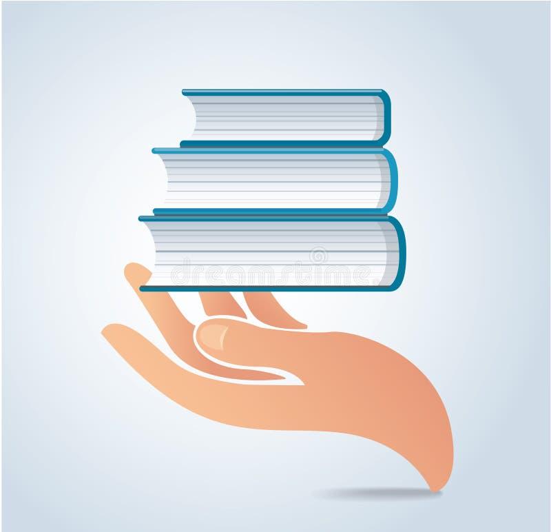 Die Hände, die Bücher halten, entwerfen Vektor, Bildungskonzept vektor abbildung