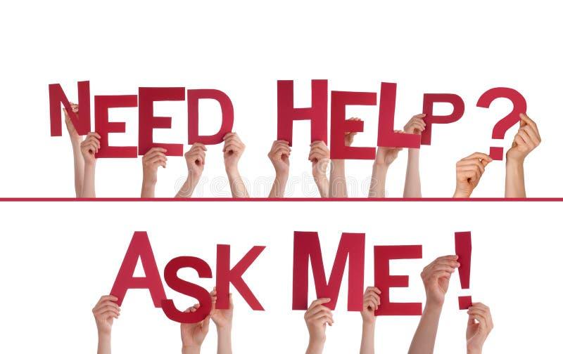 Die Hände, die Bedarfs-Hilfe halten, fragen mich lizenzfreie stockfotos