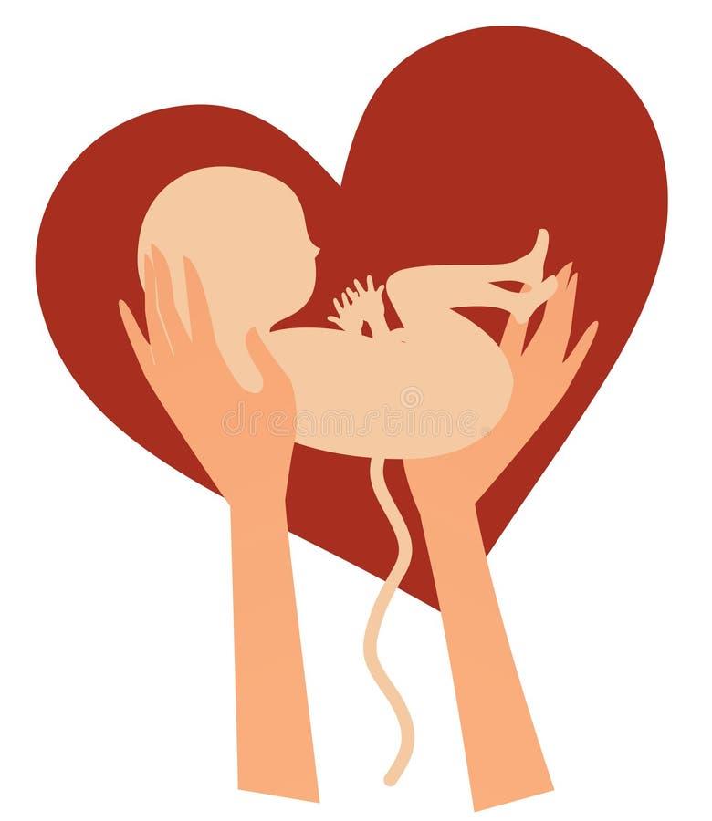 Hände, die neugeborenes Kind halten lizenzfreie abbildung