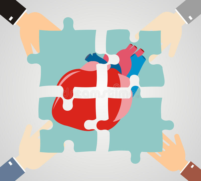 Die Hände, die Herzpuzzlespiel setzen, stellt zusammen Kardiologie und Mediziner stock abbildung