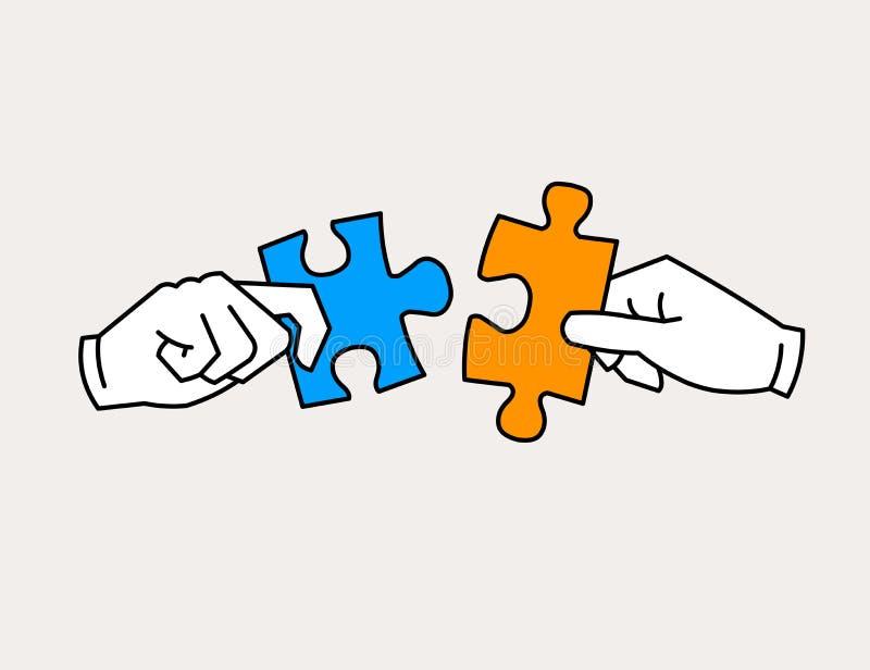 Die Hände, die Puzzlen sich anschließen, bessert Ikone aus stock abbildung