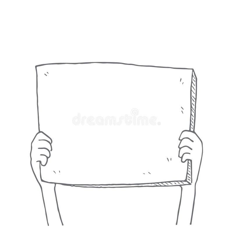 Die Hände, die leeres Papier halten, unterzeichnen Unkosten, Karikaturgekritzel, Vektorillustration vektor abbildung