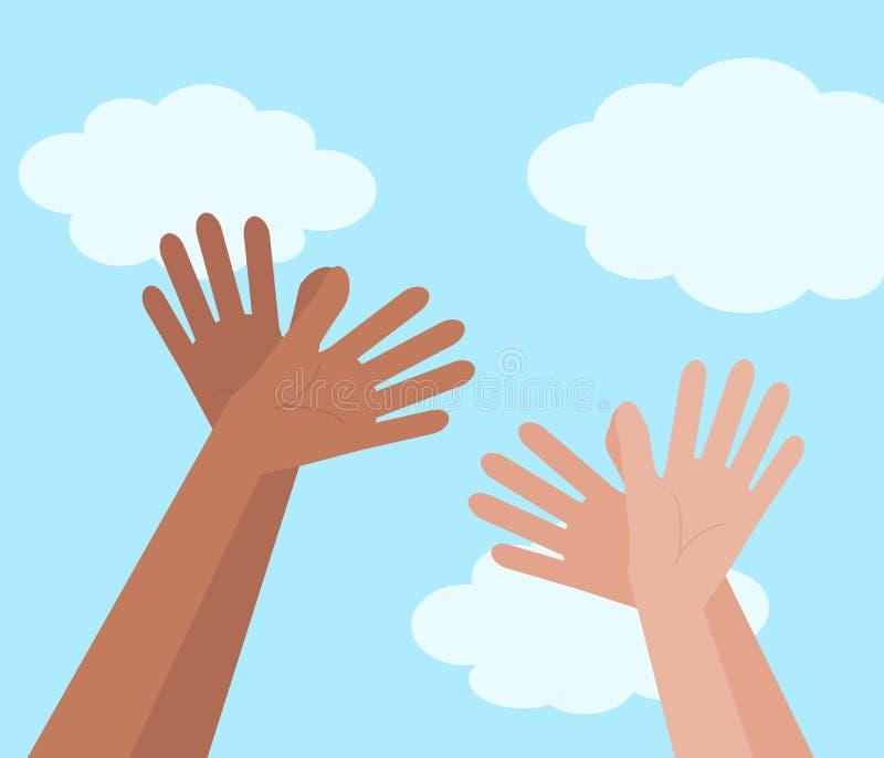 Die Hände von verschiedenen Leuten werden in das Symbol eines Vogels gefaltet stock abbildung