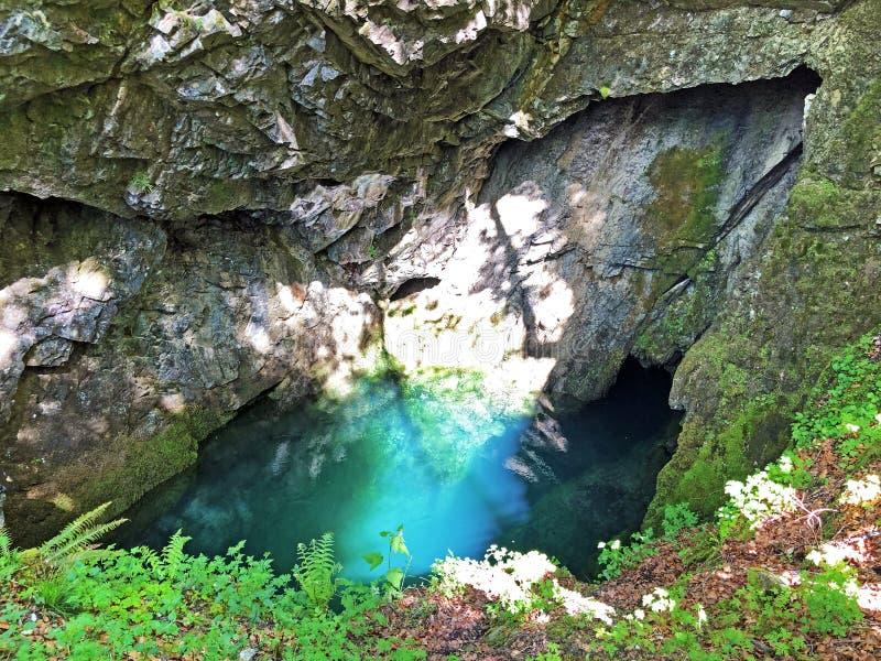 Die Höhle und die Quelle Hundsloch durch den alpinen See Wagitalersee oder Waegitalersee, Innerthal lizenzfreie stockbilder