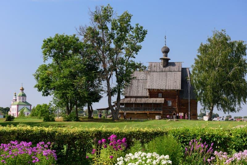 Die hölzerne Kirche von Sankt Nikolaus im Kreml von Suzdal Suzdal, Russland lizenzfreies stockbild