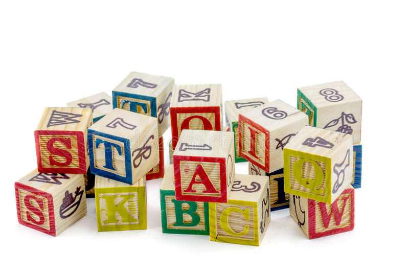 Die hölzernen Alphabetblöcke lizenzfreies stockbild