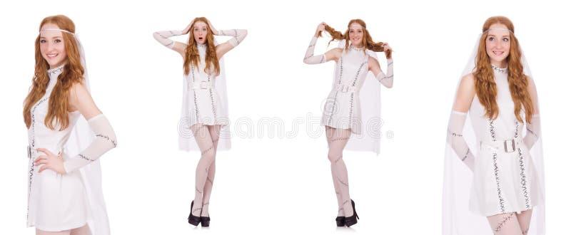 Die hübsche Dame im hellen reizend Kleid lokalisiert auf Weiß stockbild