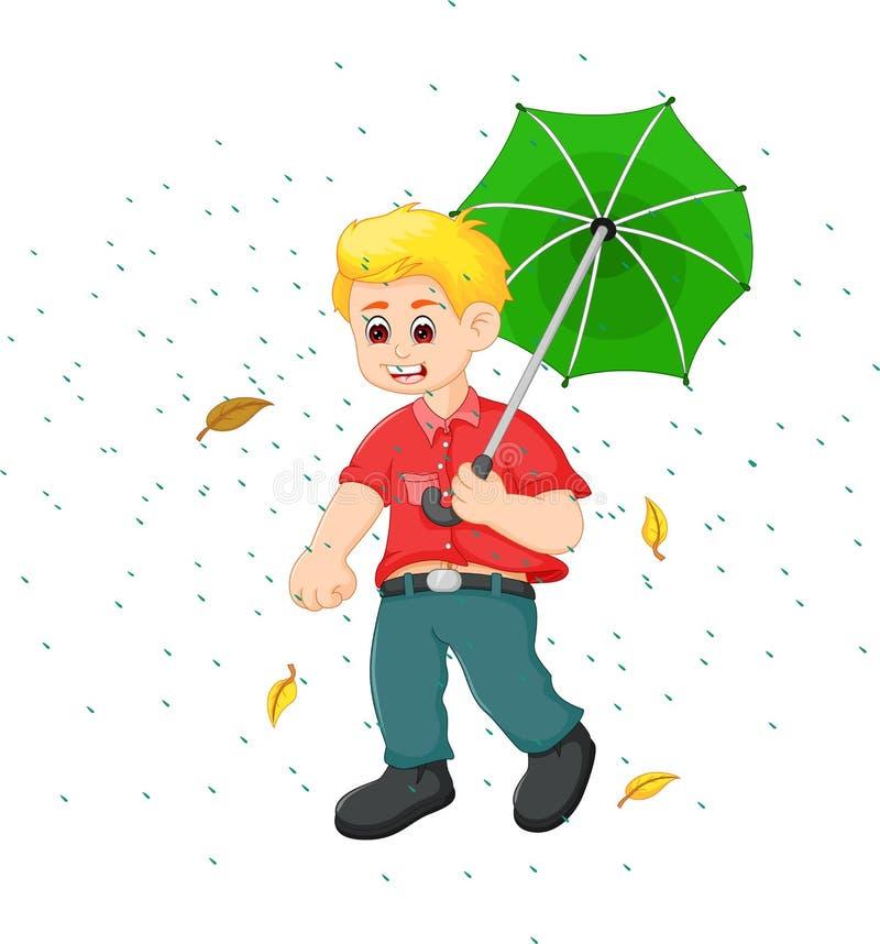 Die hübsche Jungenkarikatur, die unter Regen steht, holen Regenschirm mit Lächeln stock abbildung