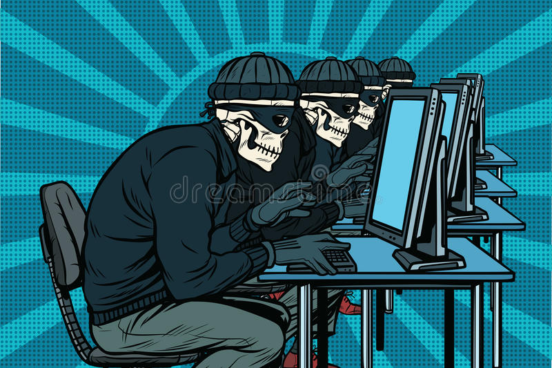 Die Hackergemeinschaft, Skelette zerhackte Computer lizenzfreie abbildung