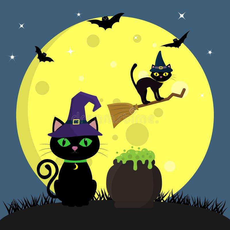 Die Halloween-Katze im Hexe ` s Hut sitzt nahe bei dem Topf mit dem Trank Eine andere Katze fliegt auf einen Besenstiel, gegen a lizenzfreie abbildung