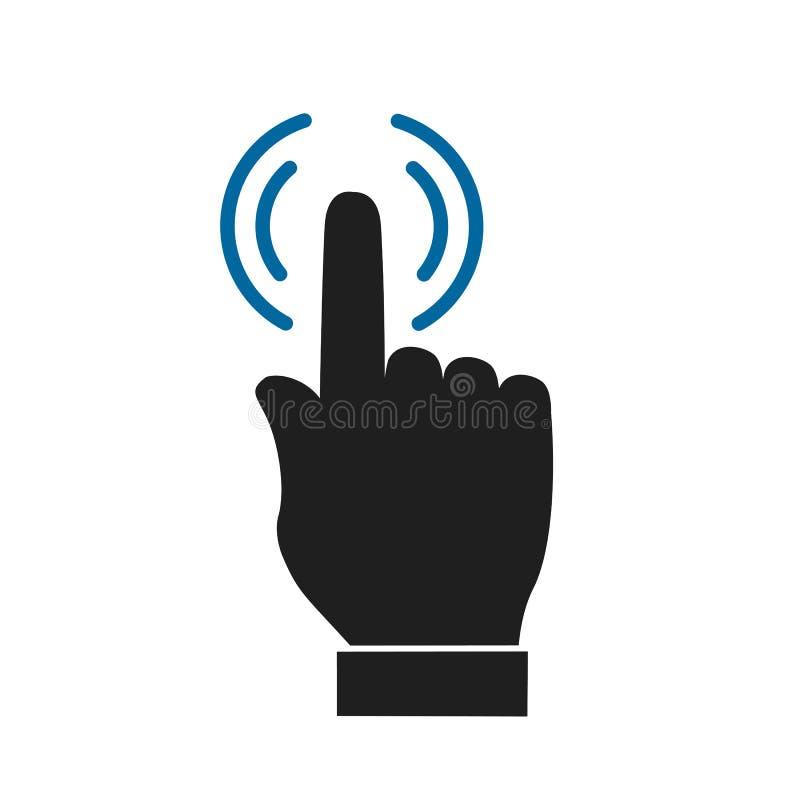 Die Hand, die Auswahlikone macht, klicken hier Zeichen – für Vorrat lizenzfreie abbildung