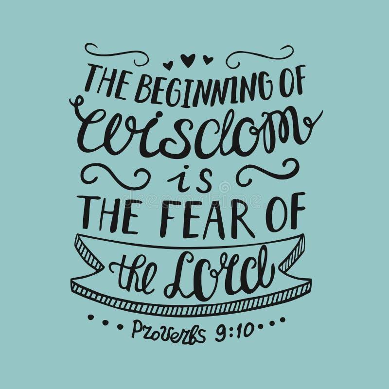 Die Hand, die den Anfang von Klugheit beschriftet, ist die Furcht vor dem Lord, lizenzfreie abbildung