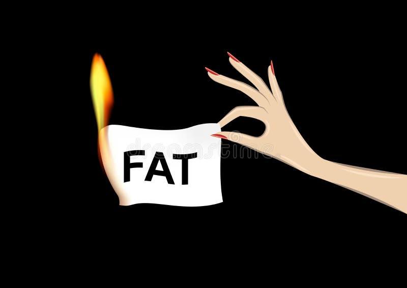 Die Hand der Frau, die ein Papier mit fettem Wort in der Flamme lokalisiert auf dem schwarzen Hintergrund, horizontale Vektorillu vektor abbildung