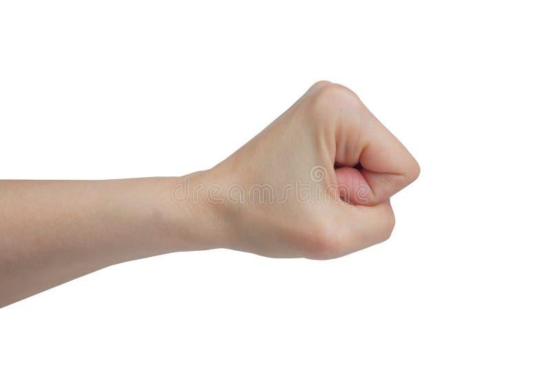 Die Hand der Frau, geballte Faust, auf einem weißen Hintergrund stockbilder