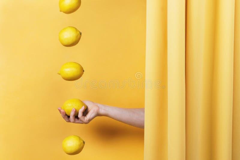 Die Hand der Frau, die von hinten den gelben Vorhang erreicht und eine Zitrone hält stockbilder