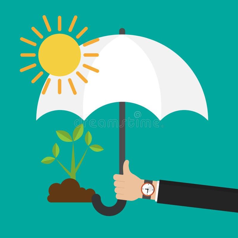 Die Hand des Geschäftsmannes, die einen Regenschirm für schützenden Sämling vom flachen Entwurf der Sonnenikone hält lizenzfreie abbildung