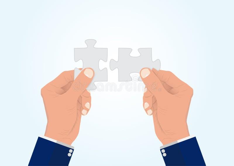 Die Hand des Geschäftsmannes, welche zusammen die Laubsäge mit zwei Puzzlespielstücken, erfolgreiches Lösungsgeschäftskonzept ans lizenzfreie abbildung