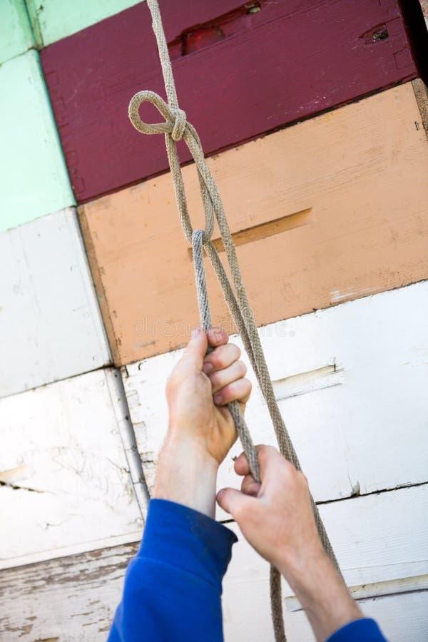 Die Hand des Imkers, die Seil auf Bienenwaben-Kisten bindet lizenzfreies stockbild