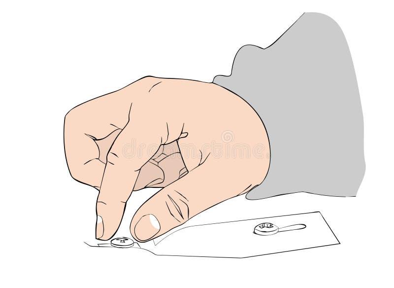 Die Hand des Mannes fügt den Bolzen in die Nut ein stock abbildung