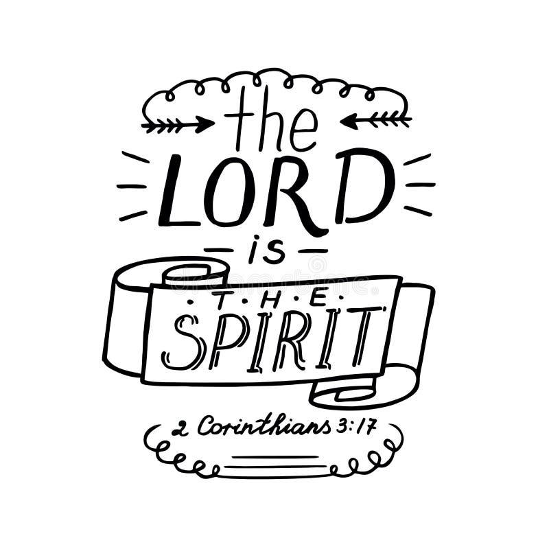 Die Hand, die den Lord beschriftet, ist der Geist lizenzfreie abbildung