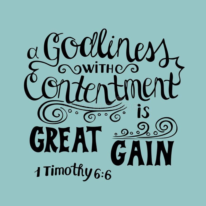 Die Hand, die großen Gewinn beschriftet, ist Gottgefälligkeit mit Zufriedenheit lizenzfreie abbildung