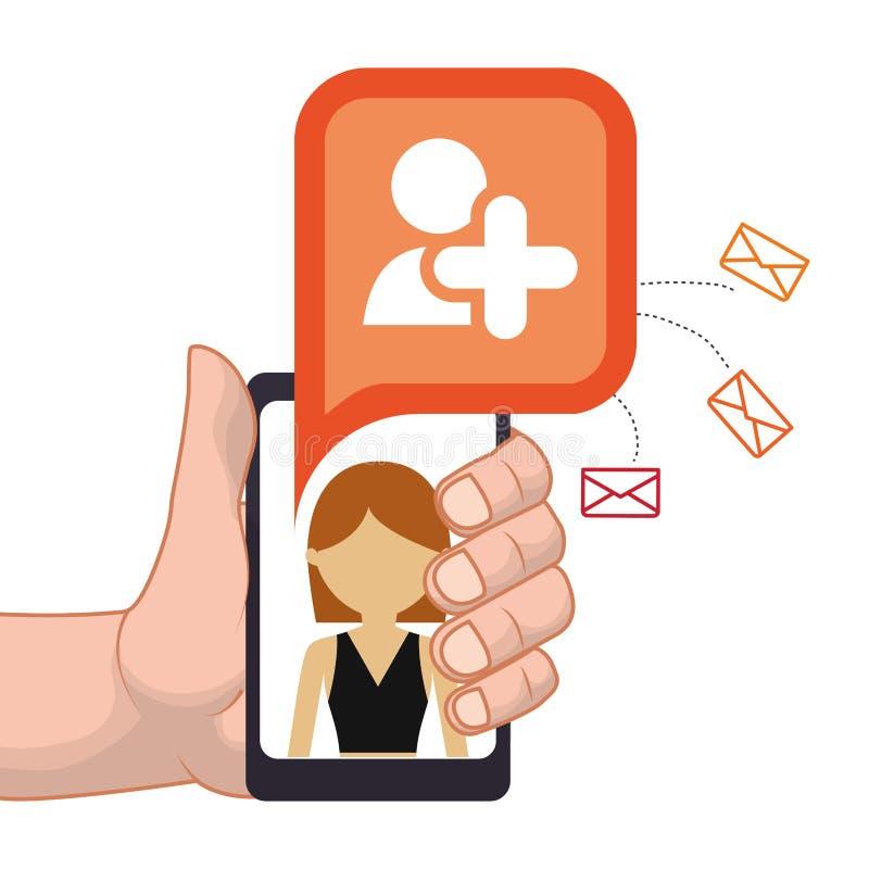 die Hand, die Smartphone hält, addieren Personenfreundkontakt-E-Mail lizenzfreie abbildung