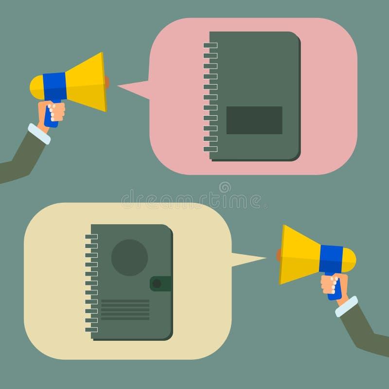 Die Hand, die ein Megaphon halten oder das Megaphon nennen ein Planerbuch, Vektor stock abbildung