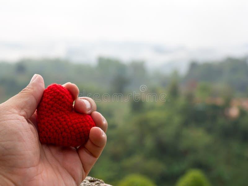Die Hand hält das rote Herz, das der Hintergrund Waldgrünbäume ist und nebelhafte Berge gestalten landschaftlich Kopieren Sie Rau stockfotografie